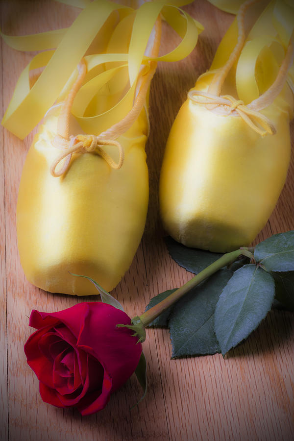 Yellow Photograph - Ballet Shoes With Red Rose by Garry Gay