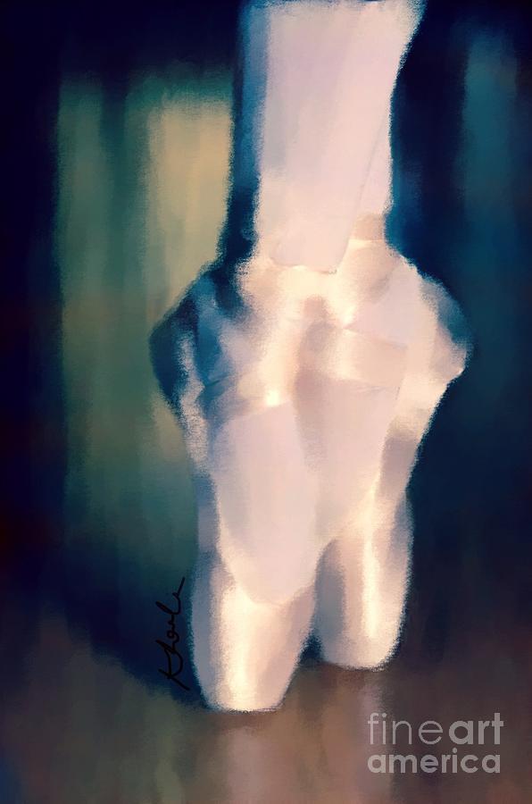 Ballet Drawing - Ballet Slippers 1 by Karen Larter