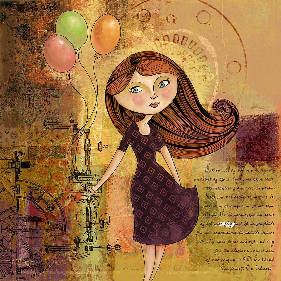 Girl Digital Art - Balloon Girl by Karyn Lewis Bonfiglio