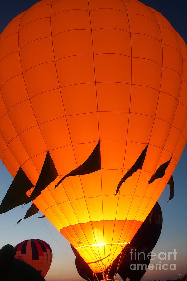 Hot Air Balloons Photograph - Balloon-glowyellow-7689 by Gary Gingrich Galleries