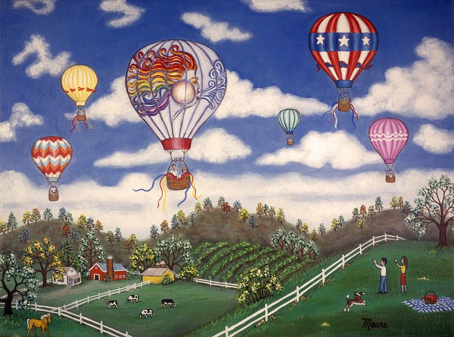 Folk Art Landscape Painting - Ballooning Over The Country by Linda Mears