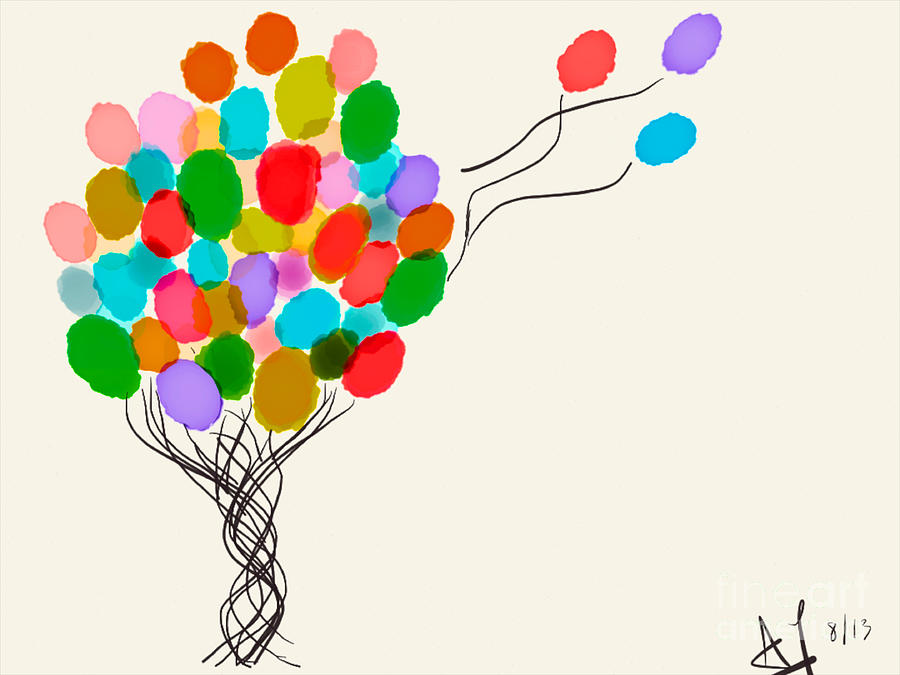 Balloons Painting - Balloons For Sale by Anita Lewis