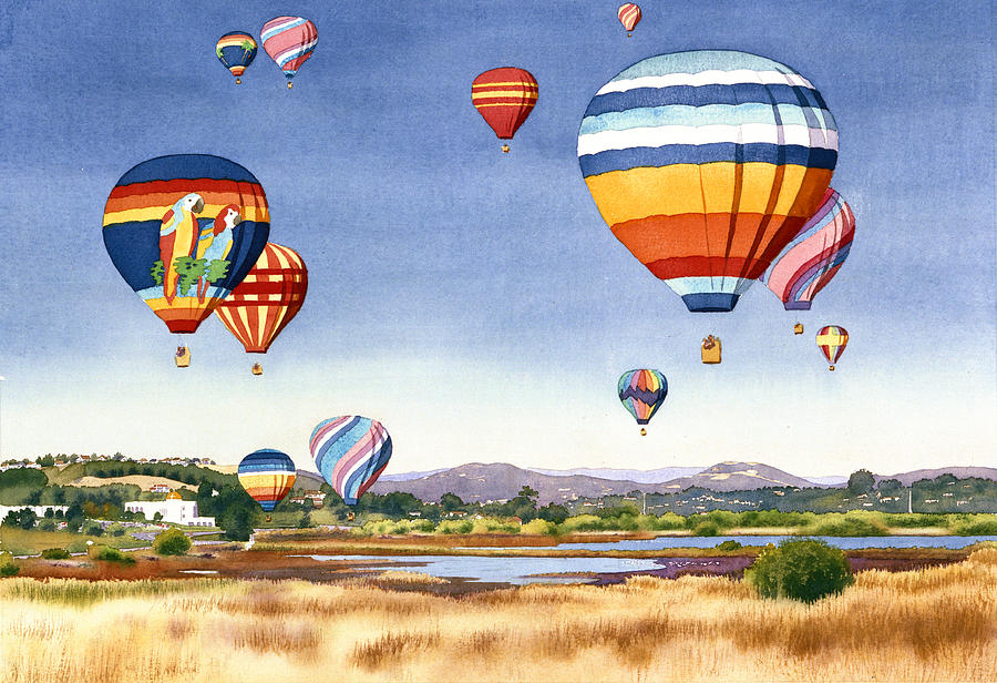 Encinitas Painting - Balloons Over San Elijo Lagoon Encinitas by Mary Helmreich