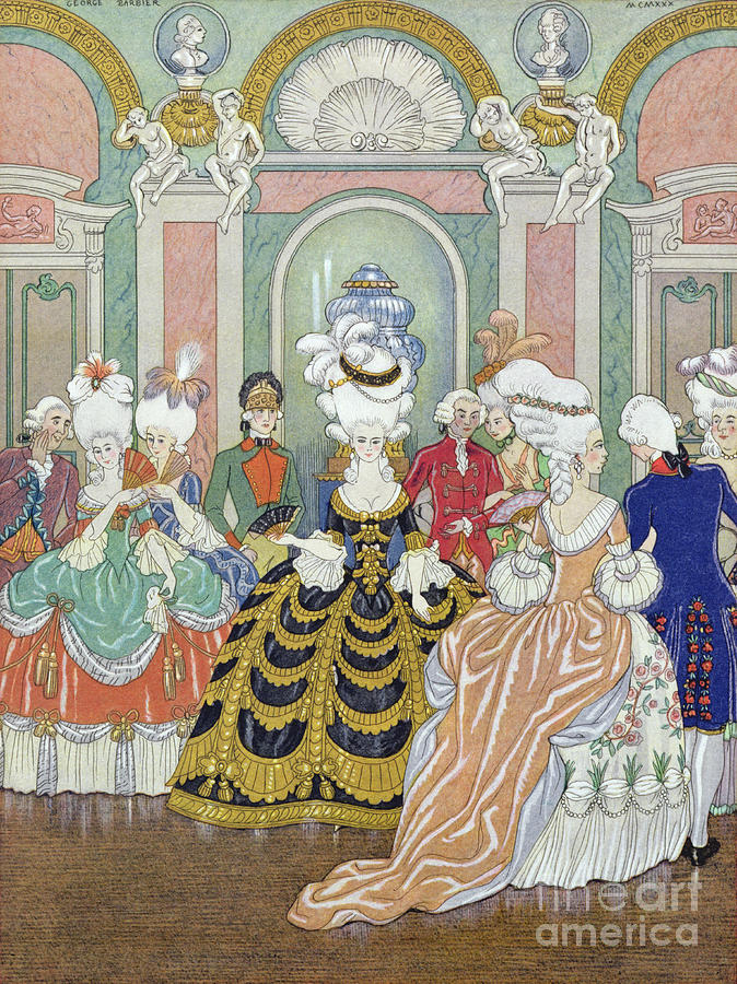 Stencil Painting - Ballroom Scene by Georges Barbier