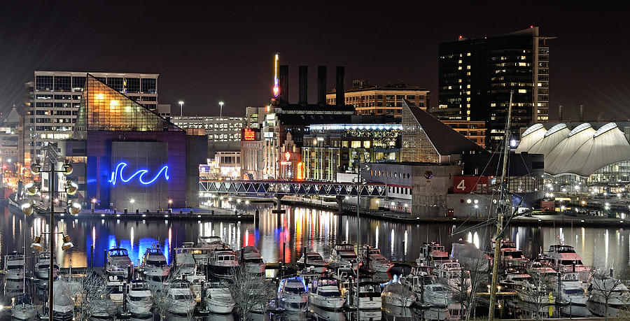 Baltimore Photograph - Baltimore Inner Harbor At Night by Brendan Reals