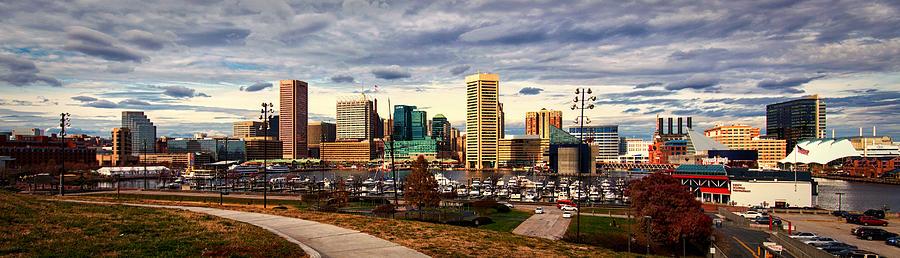 Baltimore Inner Harbor Photograph - Baltimore Inner Harbor Skyline Panorama by Bill Swartwout Fine Art Photography