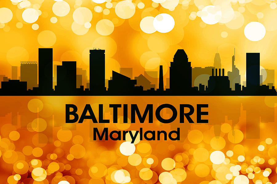 City Silhouette Digital Art - Baltimore Md 3 by Angelina Tamez