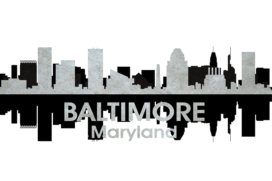 City Silhouette Digital Art - Baltimore Md 4 by Angelina Vick