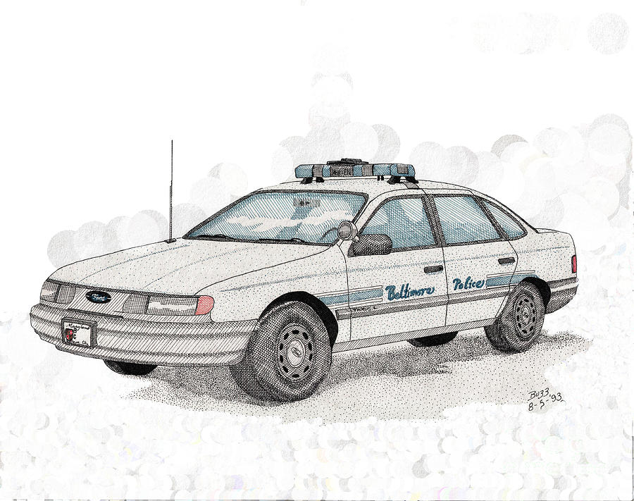 Police Drawing - Baltimore Police Car by Calvert Koerber
