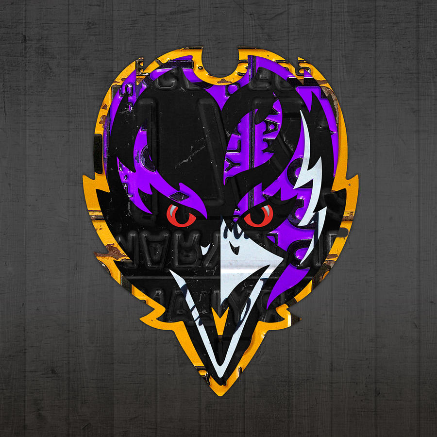 baltimore ravens football team retro logo maryland license plate art