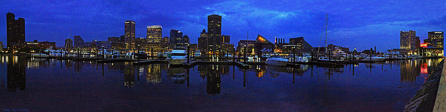 Baltimore Skyline at Night Panorama by Sheila Kay McIntyre