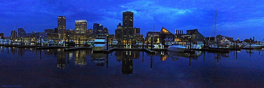 Baltimore Skyline at the Harbor at Night by Sheila Kay McIntyre