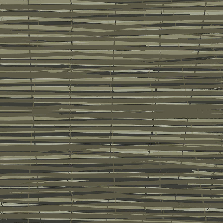 Pattern Digital Art - Bamboo Fence - Gray And Beige by Saya Studios