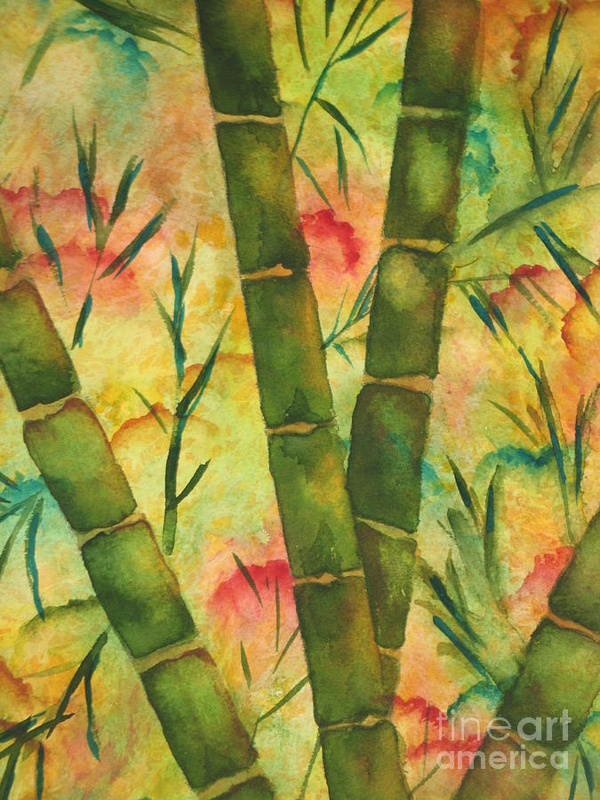 Watercolor Painting - Bamboo Garden by Chrisann Ellis