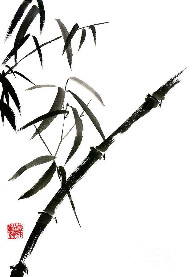 Bamboo Painting - Bamboo Japanese Chinese Sumi-e Suibokuga Tree Watercolor Original Ink Painting by Mariusz Szmerdt