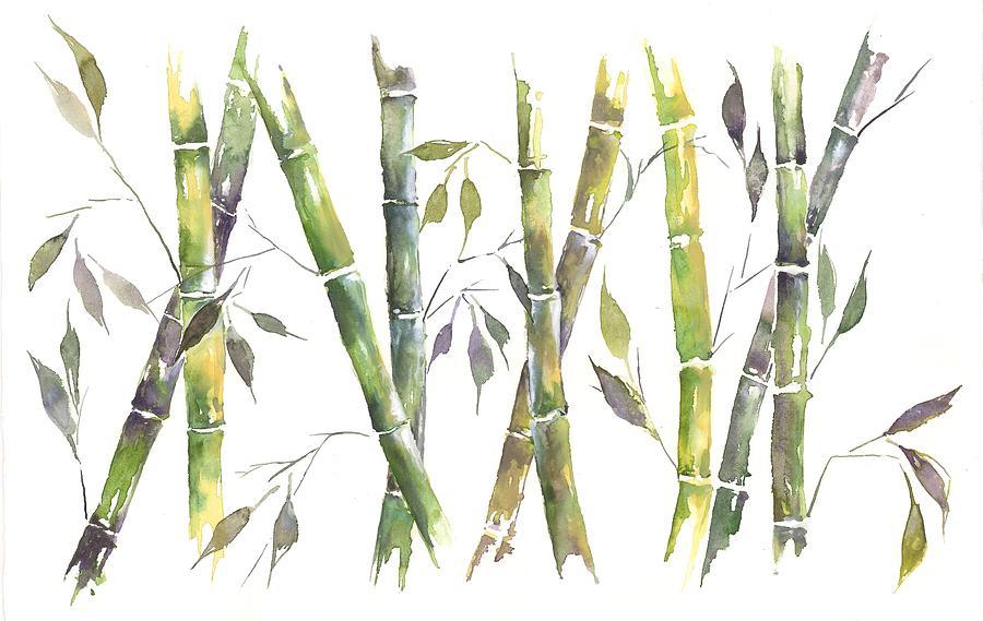 Bamboo Tree Acrylic Painting
