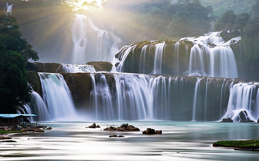 Ban Gioc Waterfall Photograph by Chi My. Trung Hamaru. Vietnam.