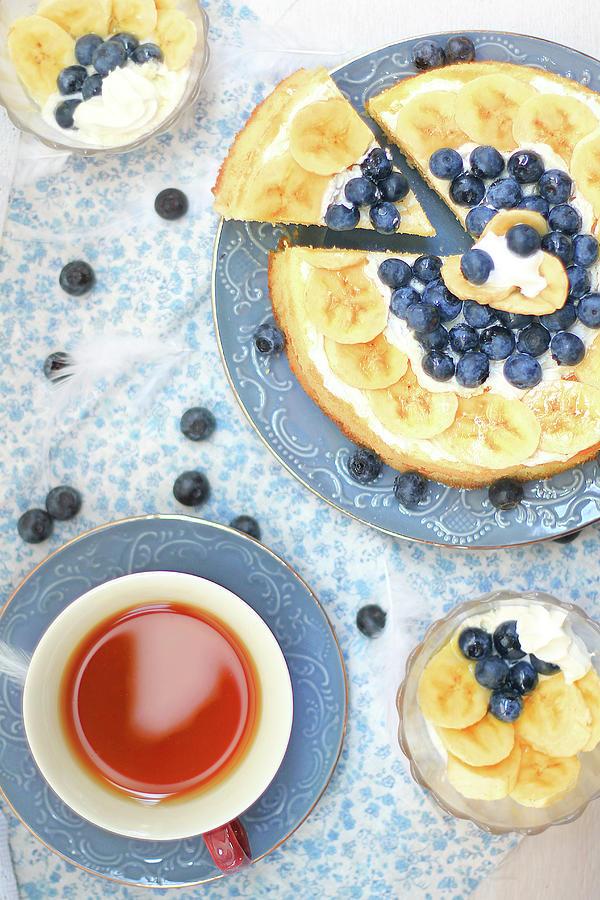 Banana Cake And Tea Photograph by Yurif