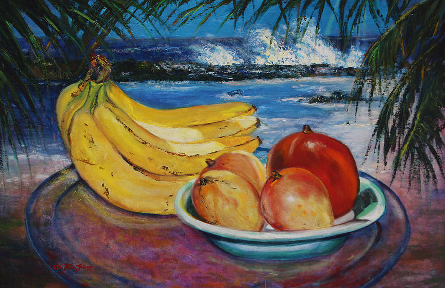 Oil  Painting - Bananas And Mangoes At Jobo Beach Isabela by Estela Robles