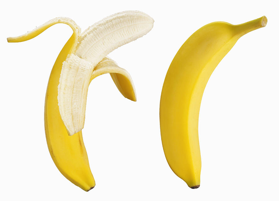 Bananas On White Photograph by Lew Robertson