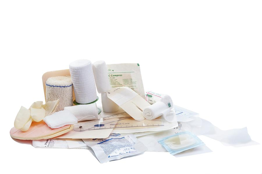 Indoors Photograph - Bandages And Dressings by Arno Massee/science Photo Library