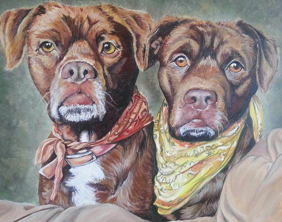 Pit Bull Painting - Bandana Dogs by Stephanie Dunn