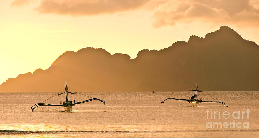 Sunset Photograph - Bangkas by Delphimages Photo Creations