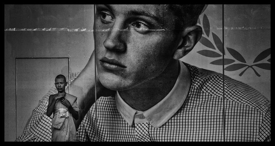 Black And White Photograph - Bangkok Mall Monk by David Longstreath
