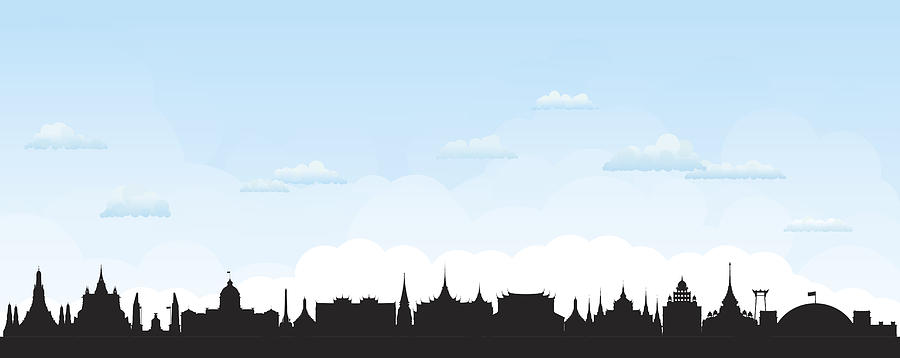Bangkok Skyline (all Buildings Are Separate And Complete) Drawing by Leontura