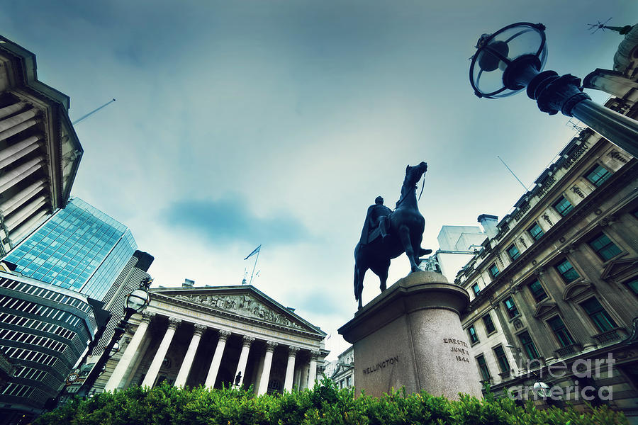 Finance Photograph - Bank Of England The Royal Exchange And The Wellington Statue Londonuk by Michal Bednarek