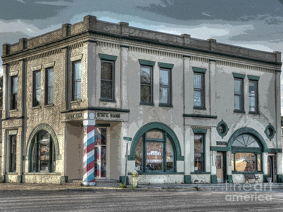 Michigan Photograph - Bank To Barbershop by MJ Olsen