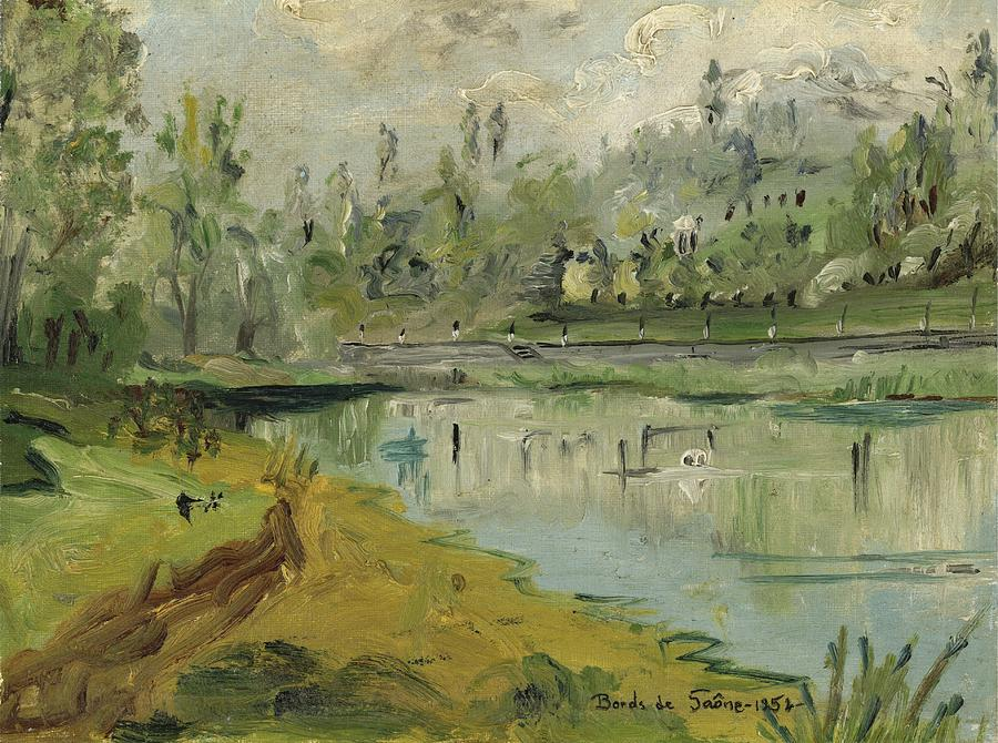 Waterscape Painting - Banks Of The Saone River - Orig. Sold by Bernard RENOT