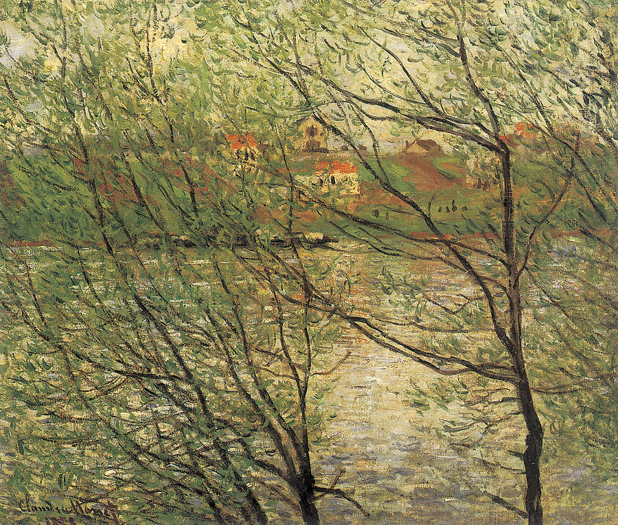 River Painting - Banks Of The Seine Island Of La Grande Jatte by Claude Monet