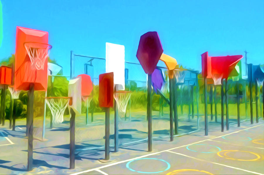 Floor Painting - Bankshot Basketball 1 by Lanjee Chee