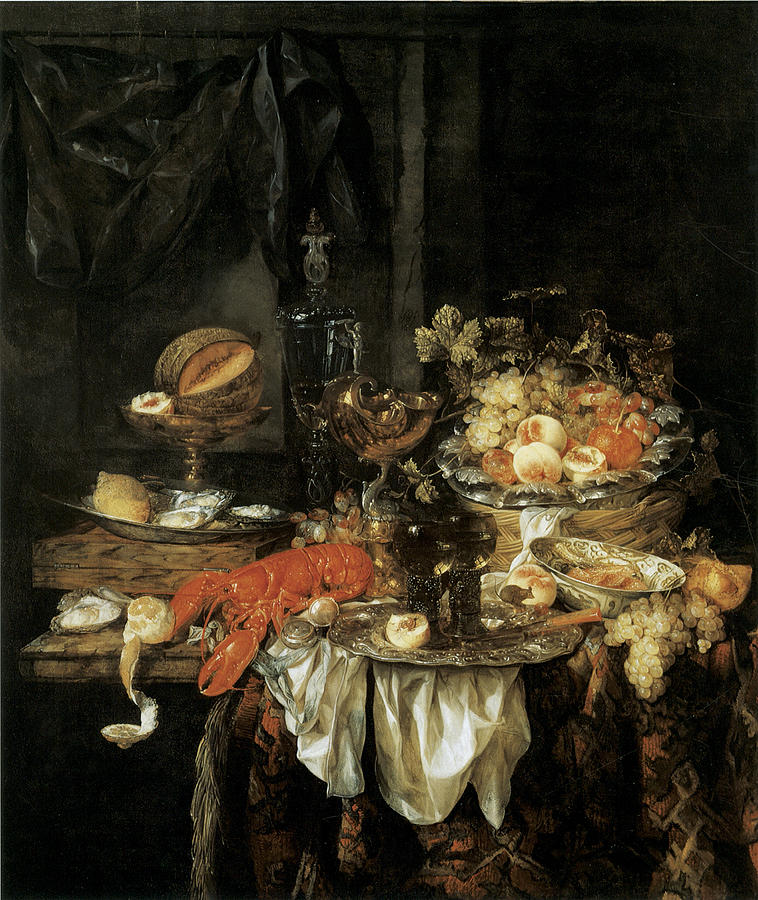 Banquet Painting - Banquet Still Life With A Mouse by Abraham van Beyeren