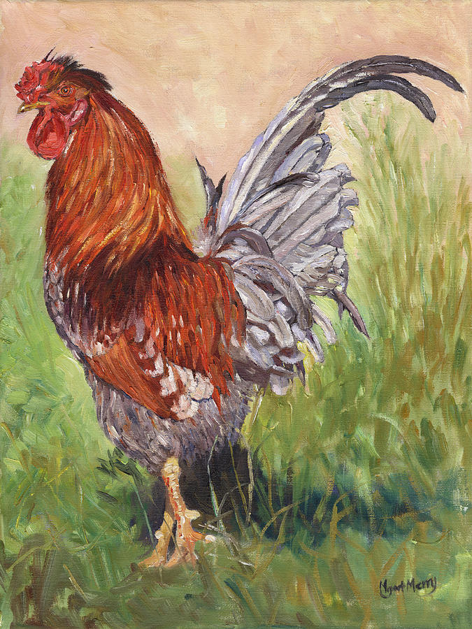 Chicken Painting - Bantam Cockerel by Margaret Merry