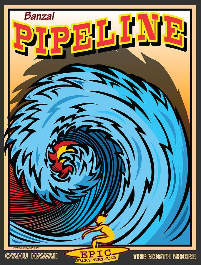 Sports Digital Art - Banzai Pipeline Hawaii Surfing by Larry Butterworth