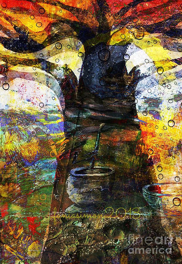 Fania Simon Mixed Media - Baobab Tree  by Fania Simon