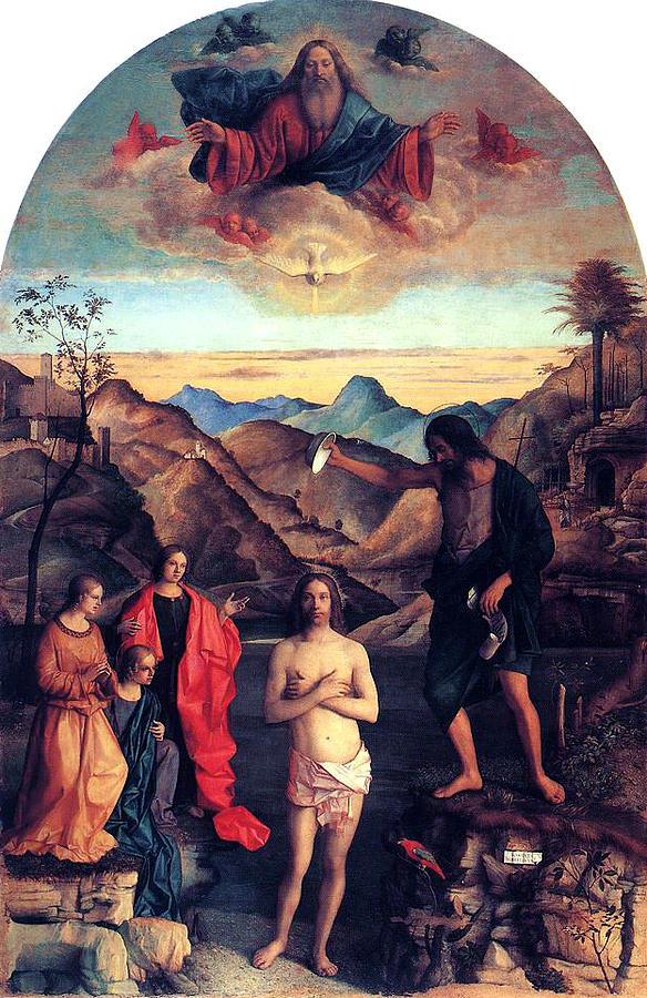 Baptism Of Christ Painting - Baptism Of Christ With Saint John 1502 Giovanni Bellini by Karon Melillo DeVega