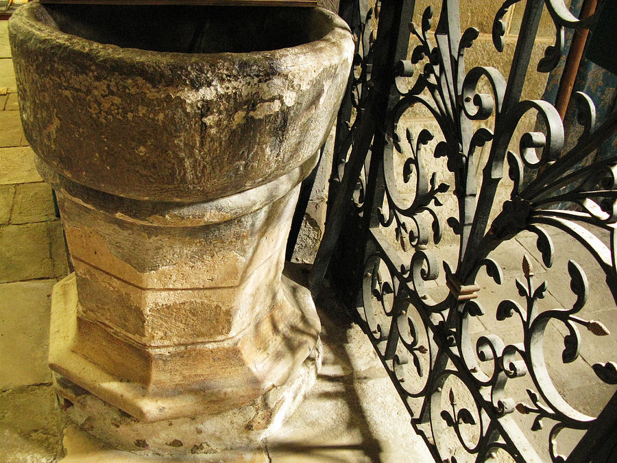 Levroux Photograph - Baptismal Font by Randi Kuhne