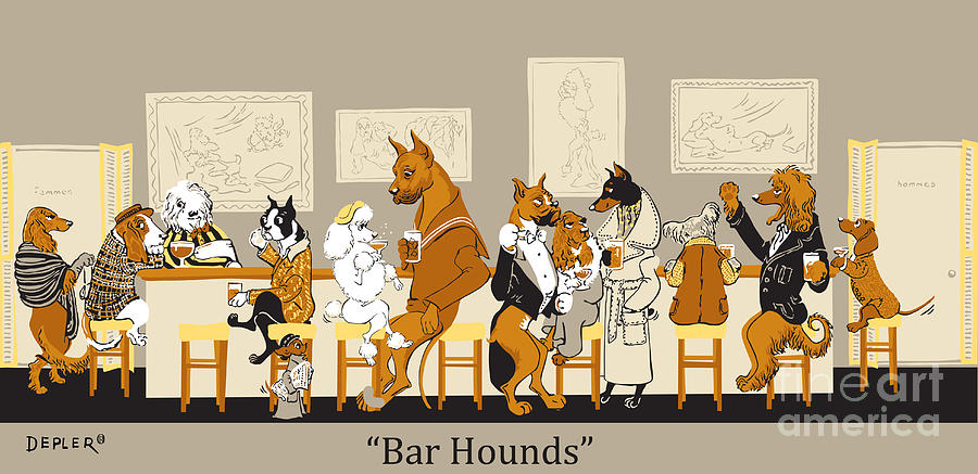 Dogs Mixed Media - Bar Hounds by Constance Depler