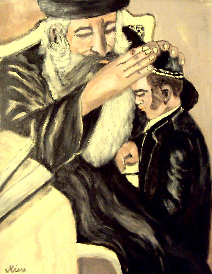 Jewish Symbol Painting - Bar Mitzvah by Mimi Eskenazi
