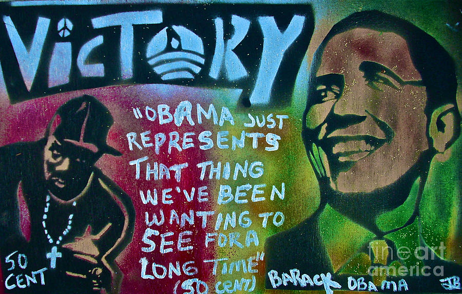Barack Obama Painting - Barack And Fifty Cent by Tony B Conscious