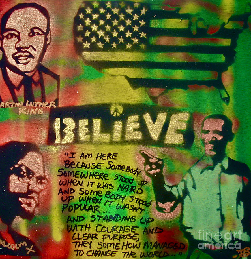 Barack Obama Painting - Barack And Martin And Malcolm by Tony B Conscious