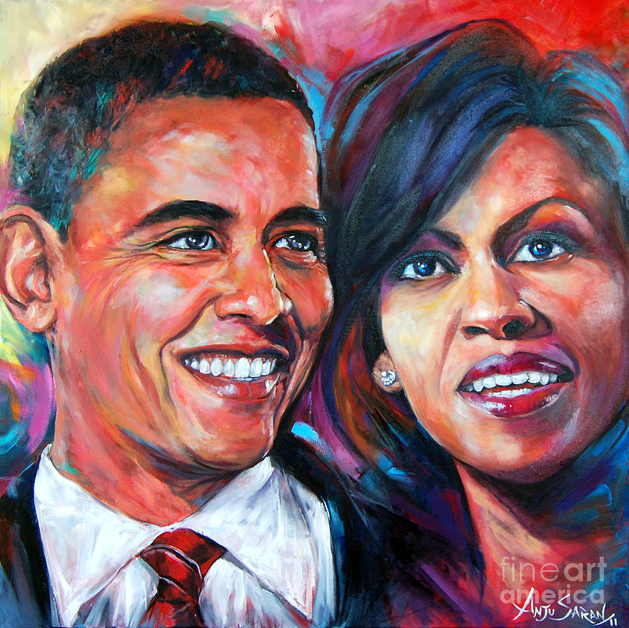 Portrait Painting - Barack And Michelle Obama by Anju Saran