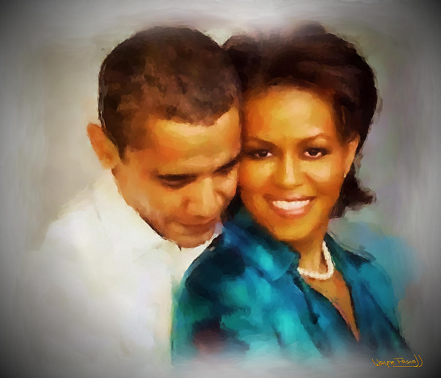 Barack Obama Painting - Barack And Michelle by Wayne Pascall