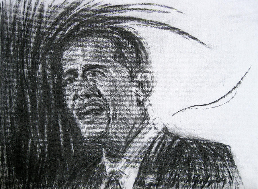 Barack Obama Drawing - Barack Obama 1 by Michael Morgan