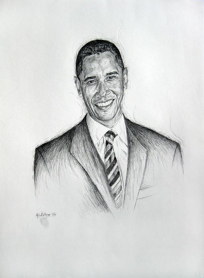 Barack Obama Drawing - Barack Obama 2 by Michael Morgan