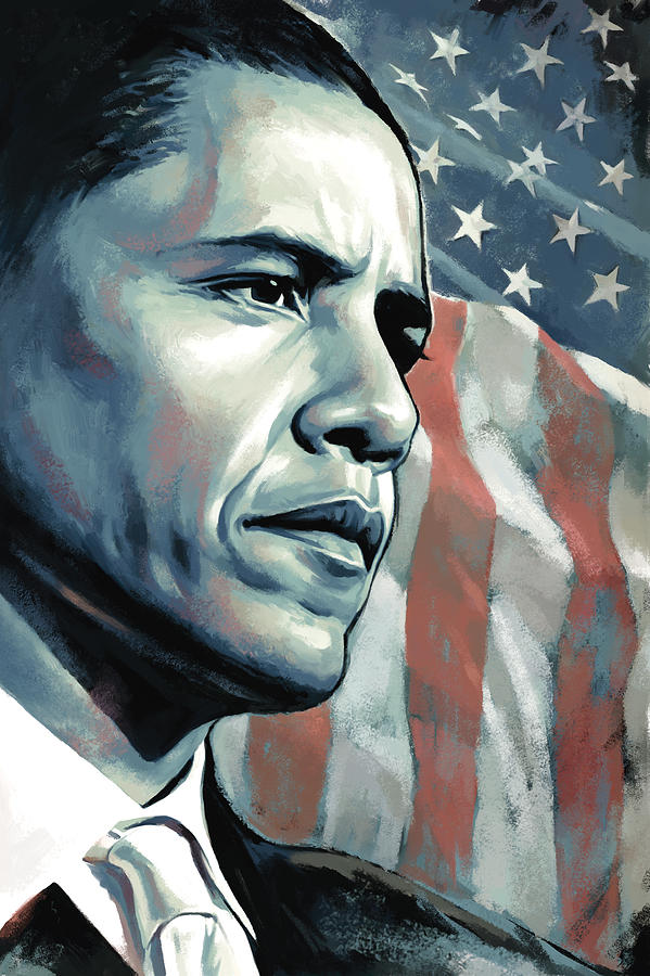 Barack Obama Paintings Painting - Barack Obama Artwork 2 B by Sheraz A