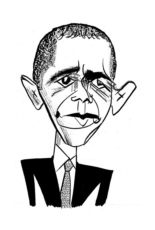 Barack Obama Suit & Tie Drawing by Tom Bachtell